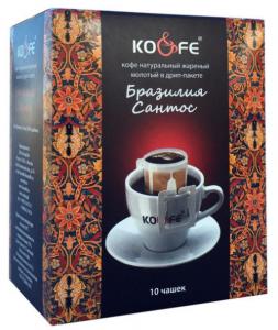 Кофе Бразилия Сантос натуральный молотый в дрип-пакетах (8 шт. по 8 г)