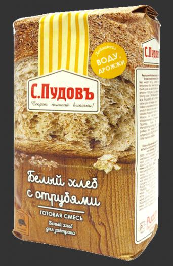ПУДОВ Хлеб белый с отрубями 500 г