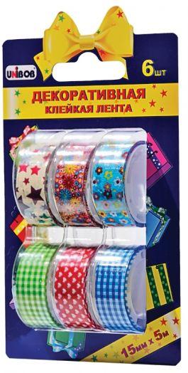 ХОЗТОВАРЫ UNIBOB арт. 339489 Набор декоративных клейких лент 15мм/5 м